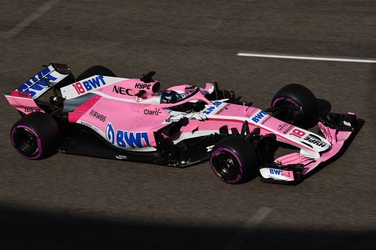 Lance Stroll in de bolide van Racing Point Force India.