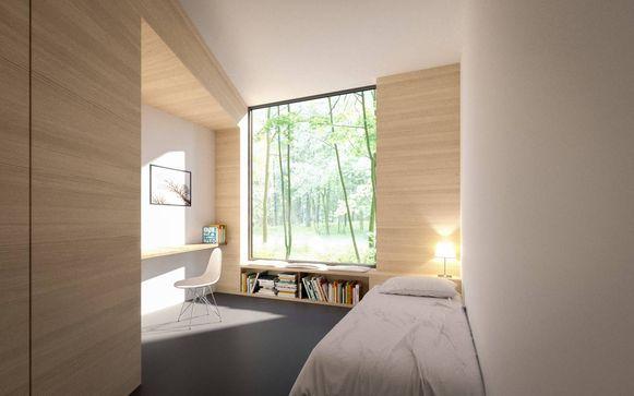 Een ontwerpbeeld van de nieuwe eenpersoonskamers in de kliniek van Pittem