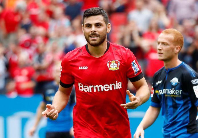 Kevin Volland maakte de beslissende 3-2 voor Bayer Leverkusen.