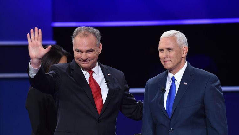 Democraat Tim Kaine (links) en Republikein Mike Pence. Beeld AFP