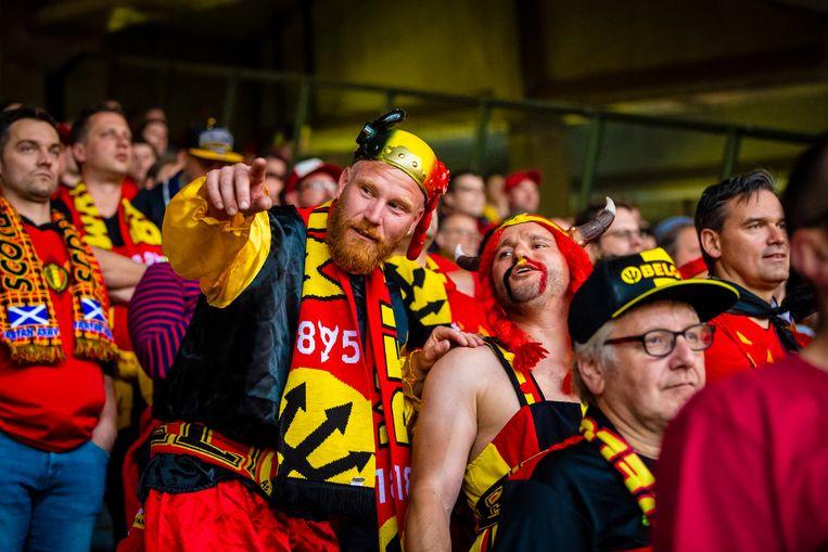 Fans van de Rode Duivels tijdens een kwalificatiewedstrijd tegen Schotland in Brussel.
