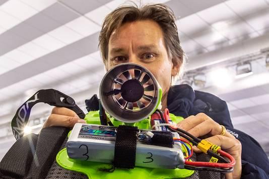 Jeroen Otter met de propeller, de zogenaamde Jet Engine.