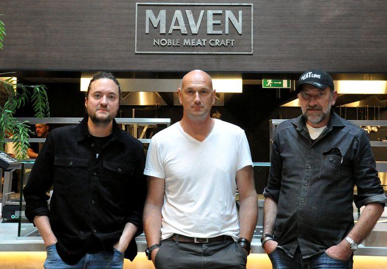 Van links naar rechts: chef de viande Jules Koninckx, horeca-ondernemer Wim Van der Borght en gerenommeerde slager Luc De Laet