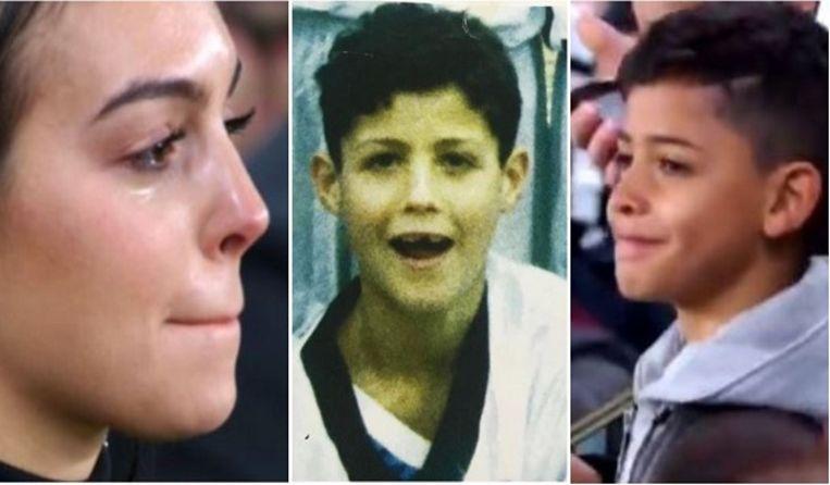 Georgina Rodriguez, een kleine Cristiano Ronaldo en Cristiano Jr.