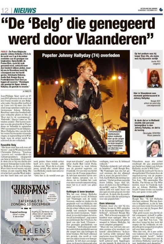 """Une page pour Johnny jeudi dans Het Belang Van Limburg: """"Le 'Belge' qui a été ignoré en Flandre"""""""