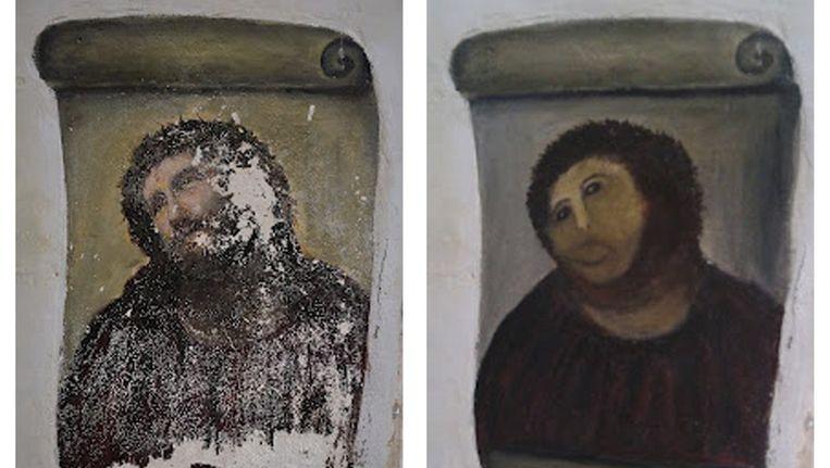 Het 'gerestaureerde' fresco is een populaire toeristische attractie geworden. Beeld reuters