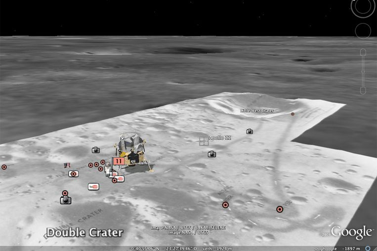 De landingsplaats van Apollo 11 op Google Moon. (Beeld Google / de Volkskrant) Beeld