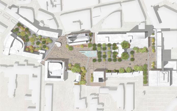 Het toekomstige Stadsforum met uiterst links de Schouwburg en midden bovenaan de Heikese kerk. Op het Willemsplein voor het Paleis-Raadhuis zijn bomen ingetekend.