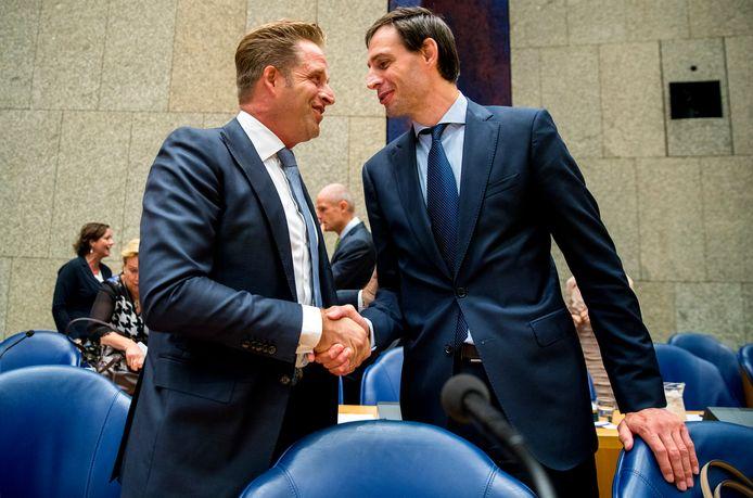 Hugo de Jonge en Wopke Hoekstra voorafgaand aan de Algemene Politieke Beschouwingen.