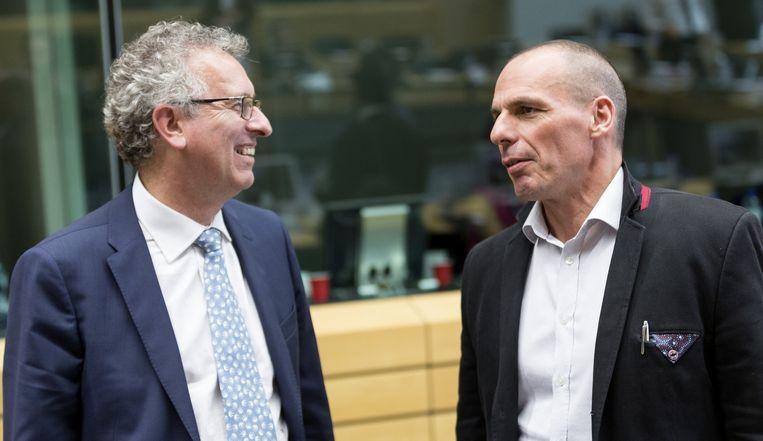 De Luxemburgse minister Pierra Gramegna met zijn Griekse collega Varoufakis.