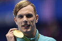Kyle Chalmers met zijn gouden medaille op de Spelen van Rio
