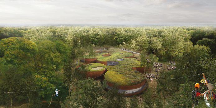 Een impressie van hoe de Natuurpoort Maashorst er uit zou kunnen gaan zien.