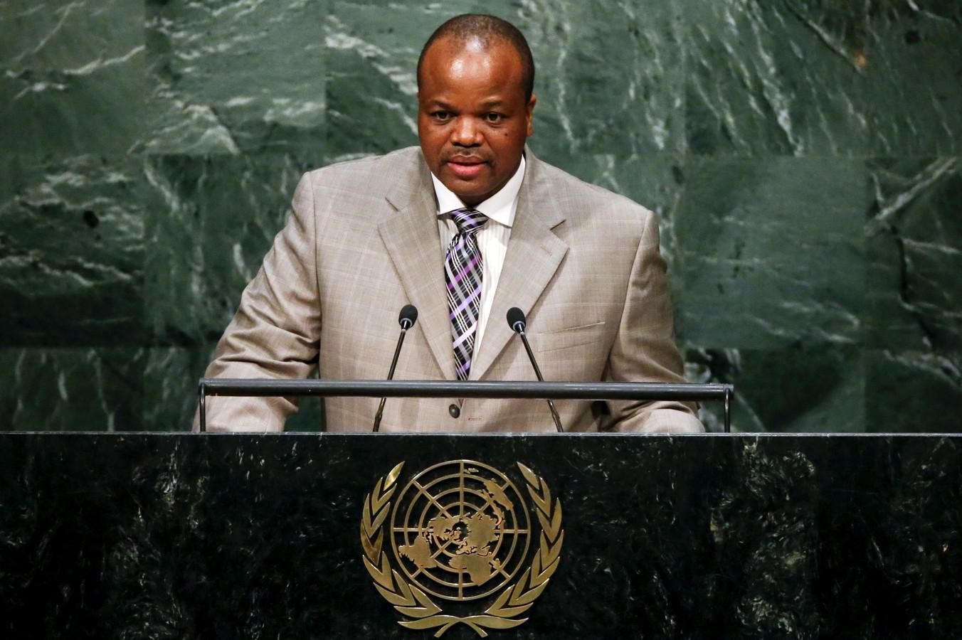 Koning Mswati III, hier tijdens een VN-bijeenkomst in New York in 2015.