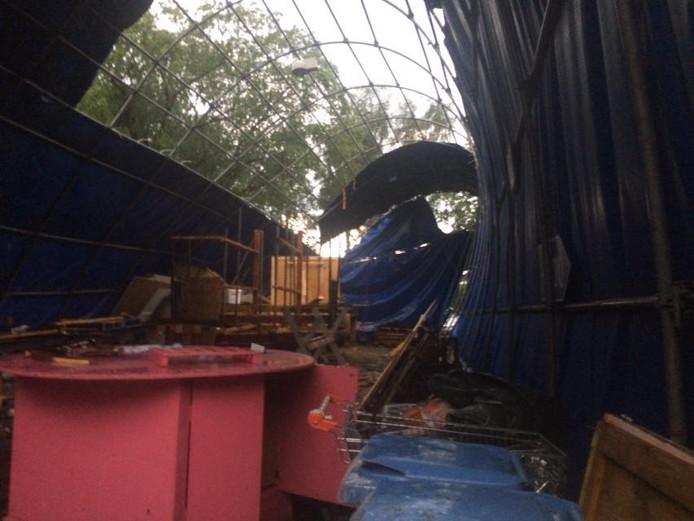 De tent van De Oude Ambachten van de Brabantsedag is stuk. Ook een aantal andere tenten is beschadigd geraakt.