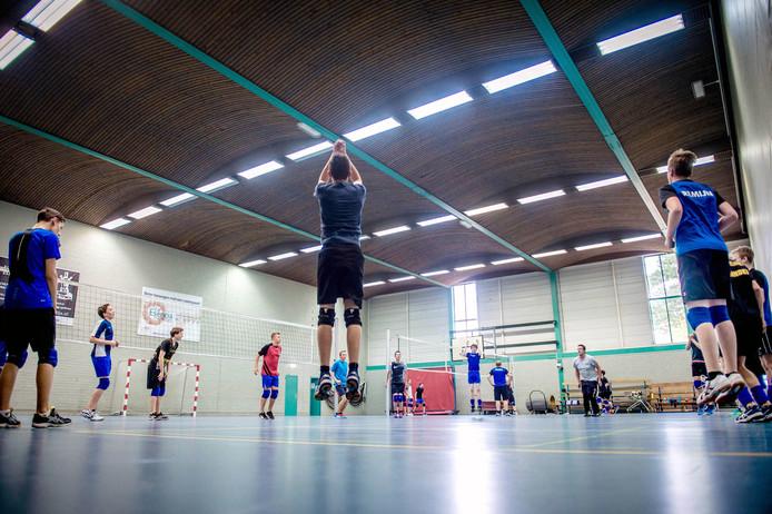 Training van volleyballers in sporthal De Heuvel.