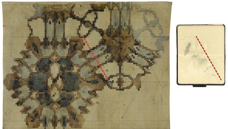 De tekening van het tapijt uit het Scheepvaarthuis, gevonden in het Stadsarchief Beeld Stadsarchief