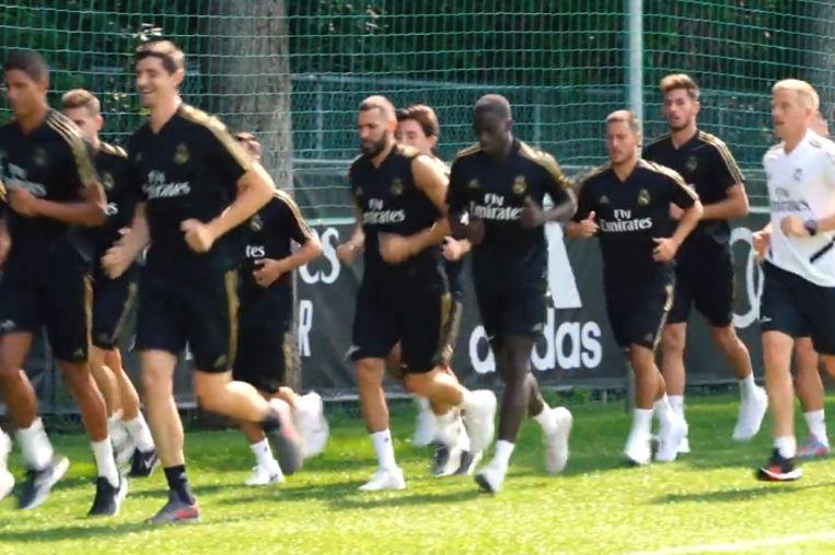 Courtois en Hazard op eerste training.