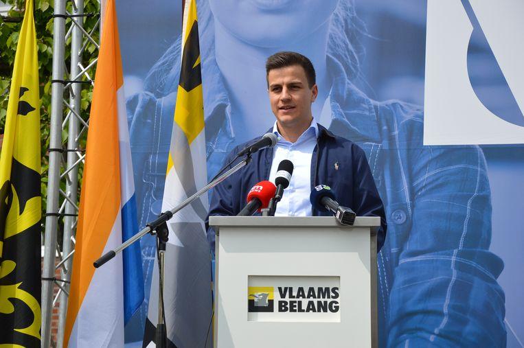 Dries Van Langenhove tijdens de nationale 1 mei-manifestatie van Vlaams Belang in Ninove.