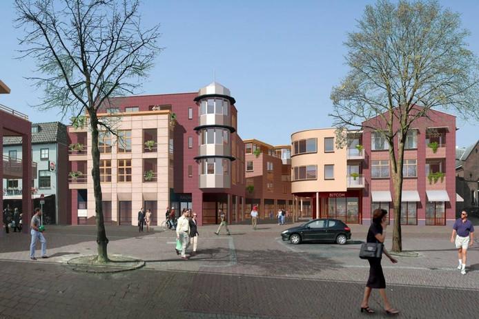 Een marktplein omringd met dorpsvilla's, appartementen en winkels. Dat was het Marktpassageplan in 2001. illustratie Centrum Haaksbergen BV