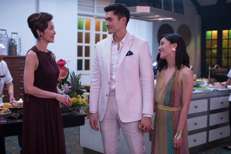 Michelle Yeoh, Henry Golding en Constance Wu in 'Crazy Rich Asians'