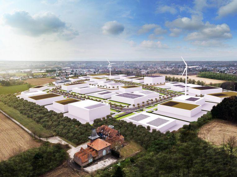 Een toekomstbeeld van het nieuwe bedrijventerrein.