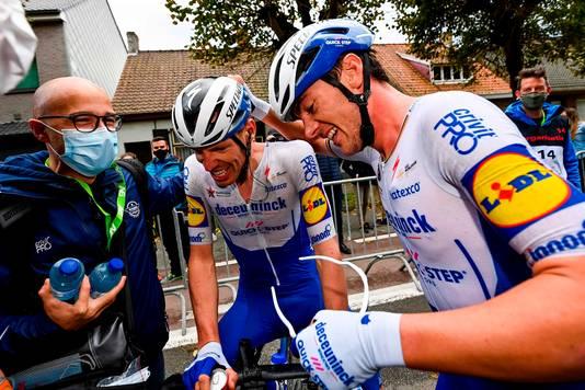 Tim Declercq en winnaar Yves Lampaert van Driedaagse Brugge-De Panne.