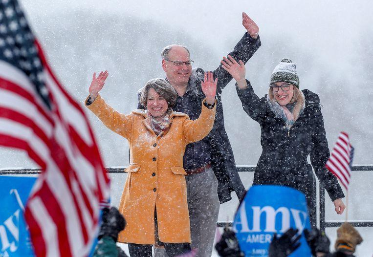 Amy Klobuchar met haar man John Bessler en haar dochter Abigail Bessler.