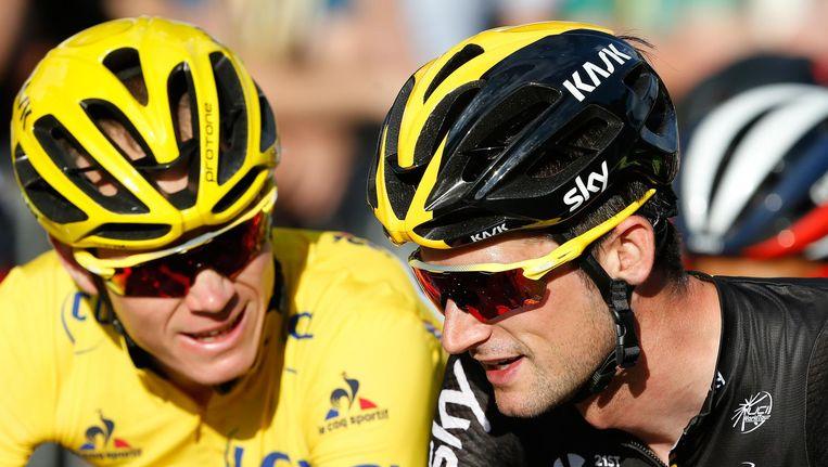 Chris Froome en Wout Poels, rechts, tijdens de Tour de France van vorig jaar Beeld anp