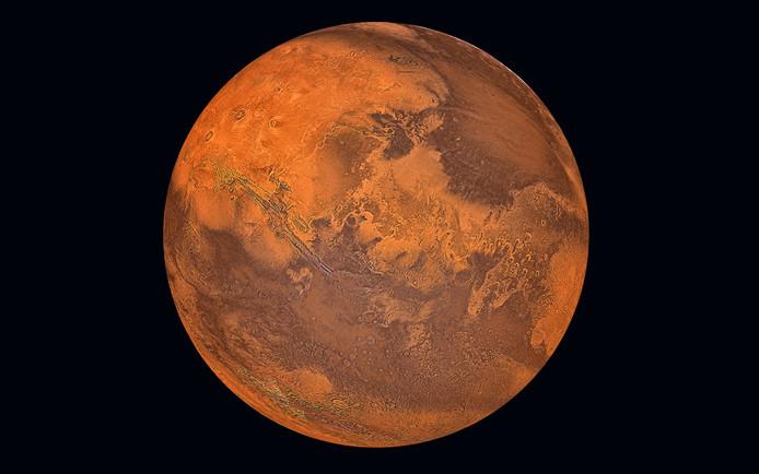 De bijnaam van Mars is 'de rode planeet'.