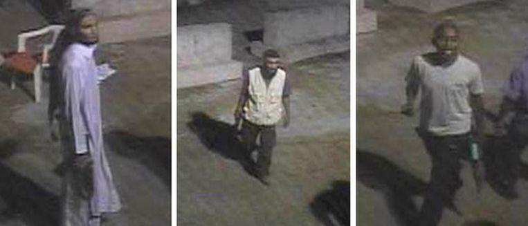 Door de FBI verspreide foto's van de drie verdachten van de aanslag op het consulaat in Libië. Beeld afp