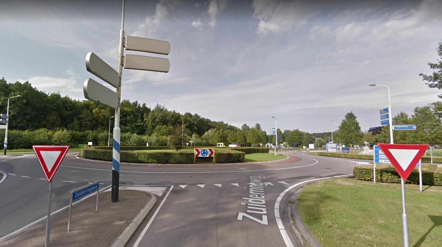 De rotonde bij Kraggenburg.