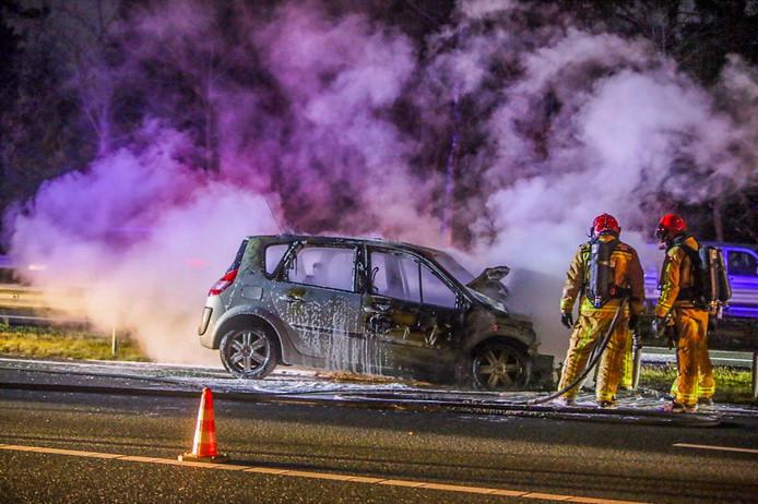 Brand na ongeluk op de A67.
