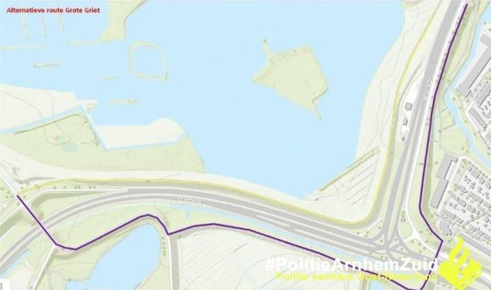De alternatieve route voor de Grote Griet in Arnhem, waar geen brom- en snorfietsers mogen rijden.