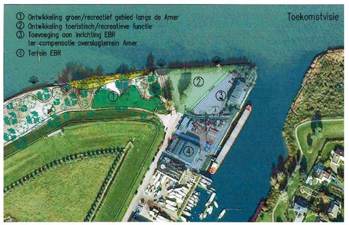 Dit was eerder nog de toekomstvisie van de raad. De blauwe gedeelten zijn nu voor het grootste deel eigendom van Gebr. De Leeuw en Jachthaven Crezée