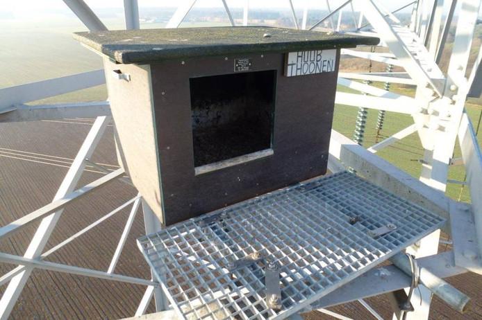 Een kast die al bij Boxmeer is geplaatst.