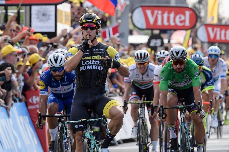 Dylan Groenewegen wint de zevende etappe van de Tour de France Beeld AFP