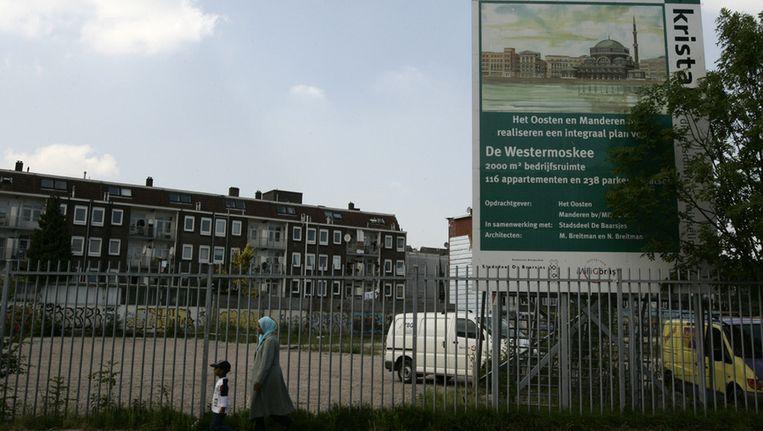 De locatie waar de Westermoskee in het Amsterdamse stadsdeel de Baarsjes zou moeten komen. Foto © ANP Beeld