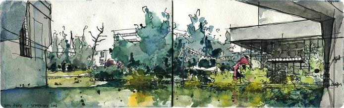 Het Van Abbemuseum en vijver, werk van Gemma Tegelaers.