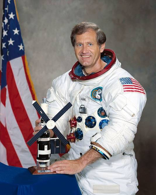 Astronaut Bill Poque vloog in 1973 naar Skylab.