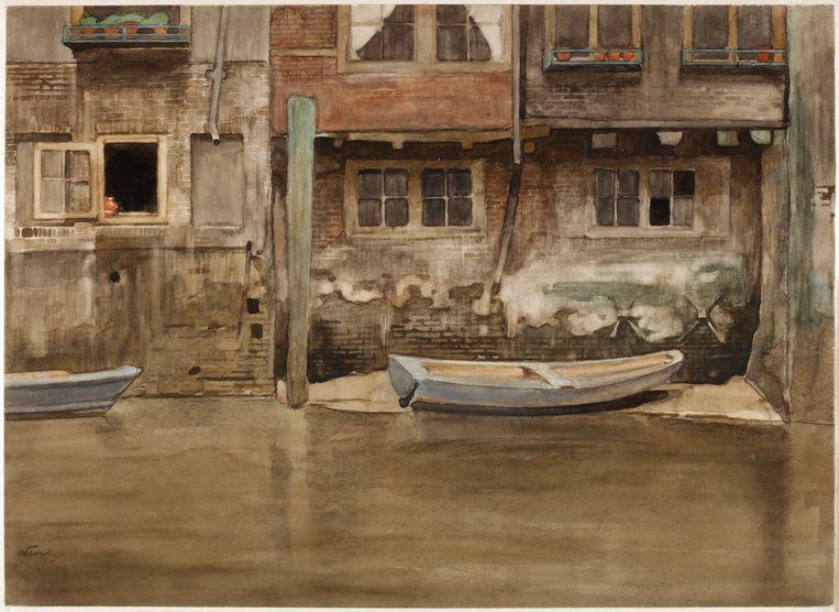 Onderhuizen aan de Voorstraatshaven te Dordrecht (Voorstraatshaven VII). Dit schilderij werd 120 jaar geleden gemaakt door Willem Witsen.   Beeld