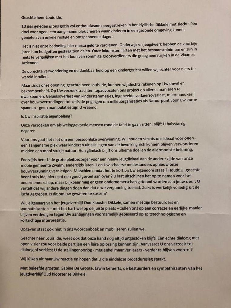 DE inwoners van Zwalm kregen deze brief in de bus.