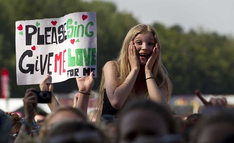 Ed Sheeran bracht een aanzienlijk deel van zijn publiek in vervoering. Beeld anp