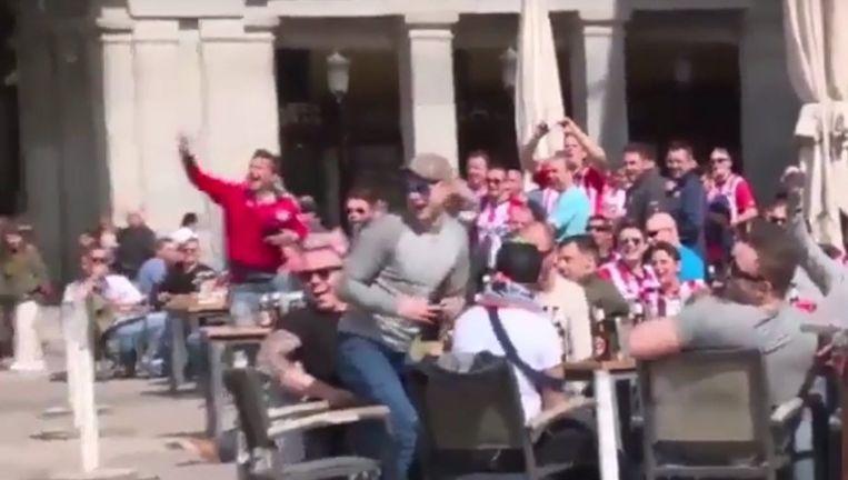 Fans van PSV in Madrid. Beeld null