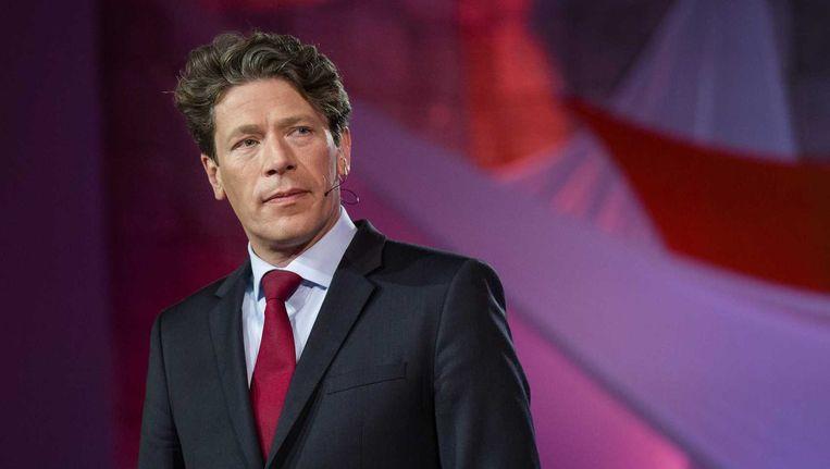 Paul Tang (PvdA) tijdens het EenVandaag Verkiezingsdebat aan de Erasmus Universiteit in Rotterdam Beeld anp