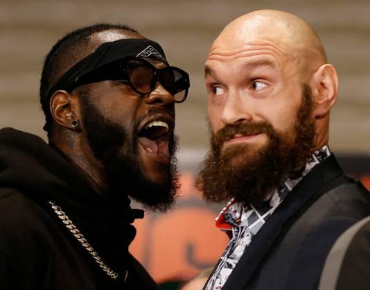 Deontay Wilder en  Tyson Fury (rechts)