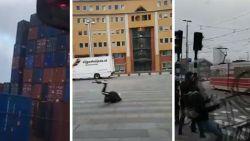 VIDEO: Onthutsende stormbeelden uit Nederland: voetgangers omvergeblazen, containers vallen om en fiets vliegt gewoon weg