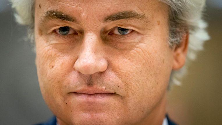 Geert Wilders in de rechtbank op Schiphol afgelopen woensdag in de zaak rond de minder Marokkanen-uitspraken van de PVV-leider Beeld anp