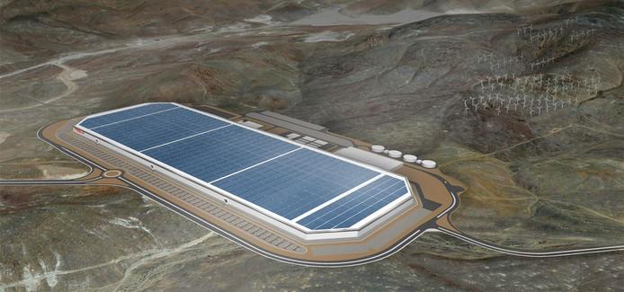 Een artist impression van de Gigafactory die Tesla momenteel bouwt in de woestijn bij Reno,Nevada. Het complex wordt uiteindelijk liefst een vierkante km groot.