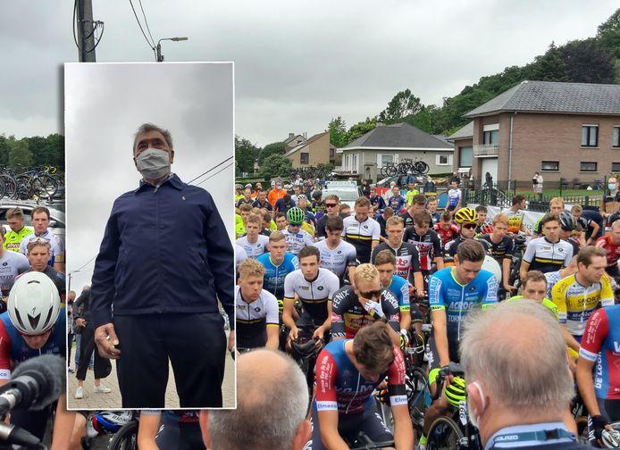Eddy Merckx bij de start van de Grote Prijs Vermarc.