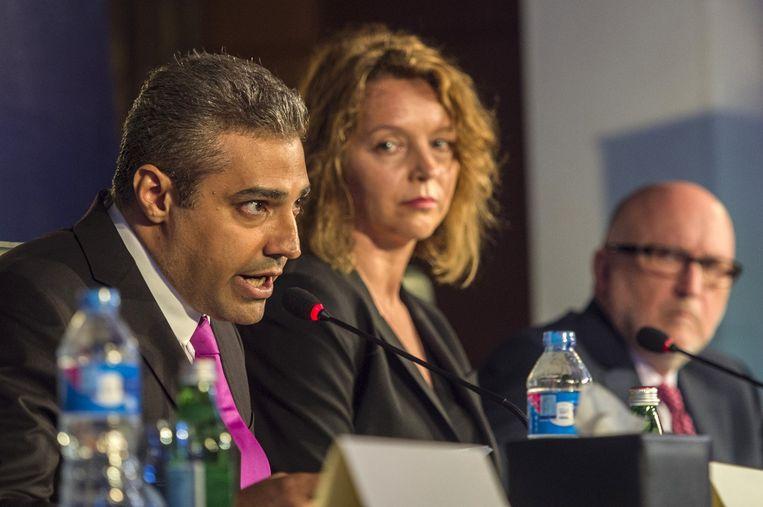 De in 2013 veroordeelde journalist Mohamed Fahmy (l) Beeld afp